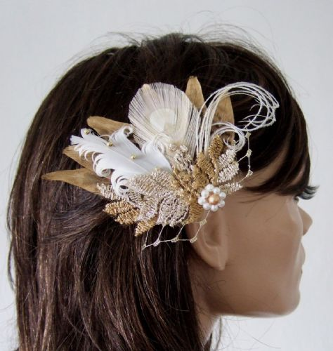 "Gold Pheasant Peacock Feather Lace + Veiling Bridal Wedding Fascinator Hair Clip ""Cia"""